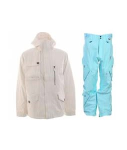 Burton Esquire Jacket Bright White w/ Foursquare Q Pants Keep Cool