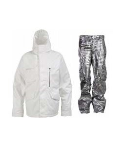 Burton Esquire Jacket Bright White w/ Burton TWC Signature Trench Pants Plaid Divsn Blotto