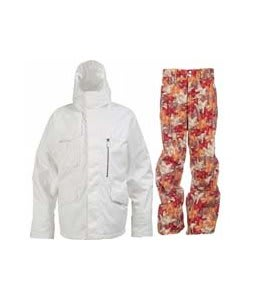 Burton Esquire Jacket Bright White w/ Foursquare Wong Pants Fall Leaves