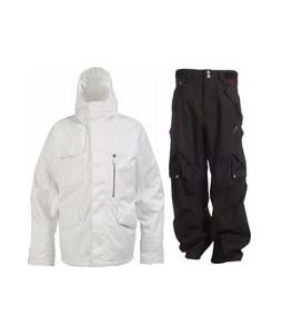 Burton Esquire Jacket Bright White w/ Foursquare Q Pants Black Hatch