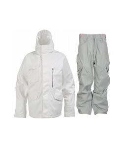 Burton Esquire Jacket Bright White w/ Foursquare S2 Q Pants Olivine Leaf Maze