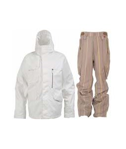 Burton Esquire Jacket Bright White w/ Foursquare Boswell Pants Tan A Poppin