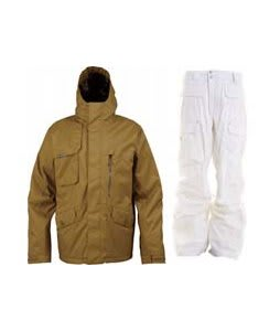 Burton Esquire Jacket Sherpa w/ Burton Ronin Cargo Pants Leopard