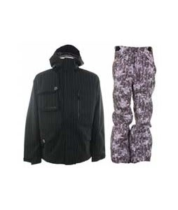 Burton Esquire Jacket True Black w/ Foursquare Trappe Pants Black Leaves