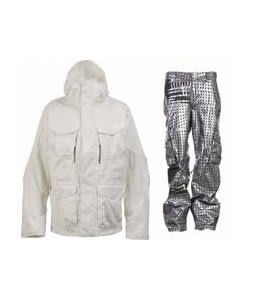 Burton Field Jacket Bright White w/ Burton TWC Signature Trench Pants Plaid Divsn Blotto