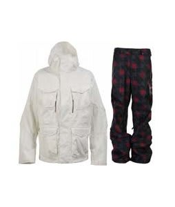 Burton Field Jacket Bright White w/ Burton Poacher Pants True Black Native