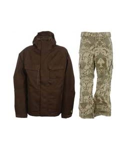 Burton Gmp ALS Jacket Brown Jacquard w/ Burton Cargo Pants Mosaic Martini