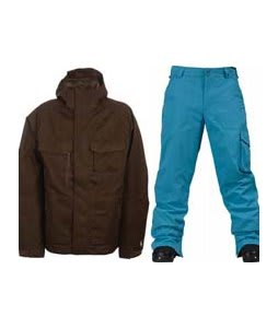 Burton Gmp ALS Jacket Brown Jacquard w/ Burton TWC Smuggler Snowboard Pant Argon