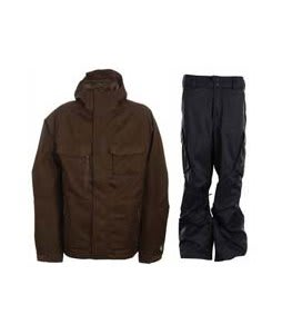 Burton Gmp ALS Jacket Brown Jacquard w/ Burton Fife Pants True Black