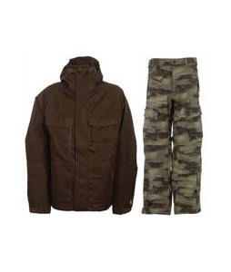 Burton Gmp ALS Jacket Brown Jacquard w/ Sessions Movement Pants Green Camo