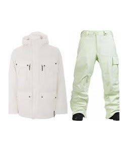 Burton GMP Traction Jacket Bright White  w/ Burton Poacher Pants Afterglow