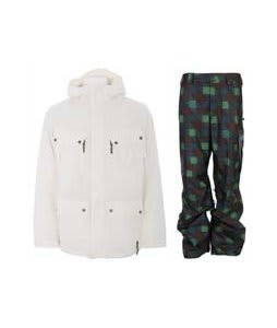 Burton GMP Traction Jacket Bright White  w/ Burton Poacher Pants Mocha Native Plaid