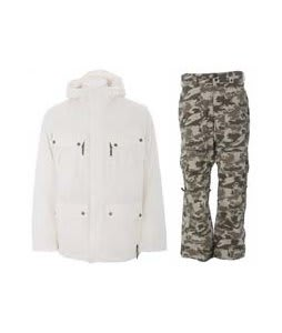 Burton GMP Traction Jacket Bright White  w/ Burton Vent Pants Shadow Camo Print