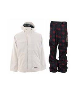 Burton Ice Wizard Jacket Bright White w/ Burton Poacher Pants True Black Native
