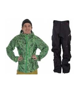 Burton Idiom Continuum 2.5L Jacket False Lily Print w/ Foursquare Q Pants Black