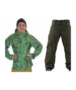 Burton Idiom Continuum 2.5L Jacket False Lily Print w/ Foursquare Q Pants Portland Pine