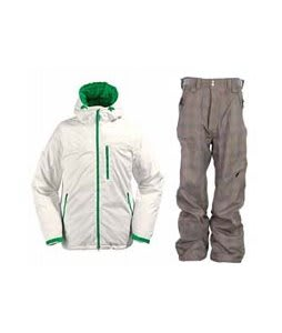 Burton Idiom Continuum Down Jacket Bright White w/ Special Blend Assure Pants Rusty Plaid