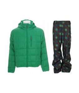 Burton Idiom Packable Down Jacket Id Green w/ Burton Poacher Pants Mocha Native Plaid