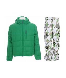 Burton Idiom Packable Down Jacket Id Green w/ Burton Cargo Pants Bright White Hounds