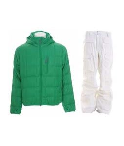 Burton Idiom Packable Down Jacket Id Green w/ Burton Ronin Cargo Pants Leopard