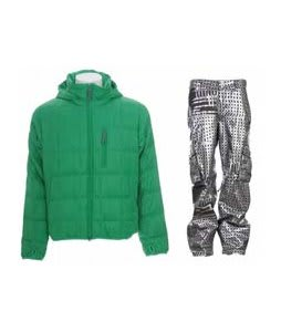 Burton Idiom Packable Down Jacket Id Green w/ Burton TWC Signature Trench Pants Plaid Divsn Blotto