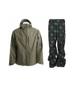 Burton Launch Jacket Hazel w/ Burton Poacher Pants Mocha Native Plaid