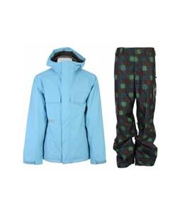 Burton Poacher Jacket Dolphinium w/ Burton Poacher Pants Mocha Native Plaid