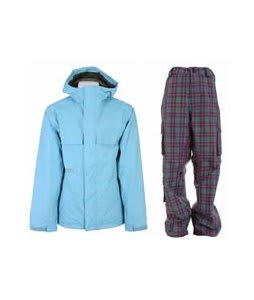 Burton Poacher Jacket Dolphinium w/ Burton Apres Pants Sky Apres Plaid