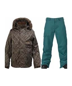 Burton Ranger Jacket Mocha Drain Jacquard w/ Burton Cargo Pants Gmp Iroquois