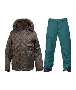 Burton Ranger Jacket Mocha Drain Jacquard w/ Burton Cargo Pants Gmp Iroquois