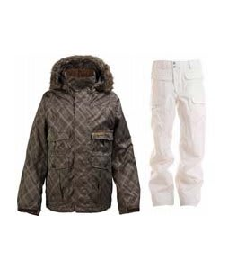 Burton Ranger Jacket Mocha Drain Jacquard w/ Burton Ronin Cargo Snowboard Pant Bright White