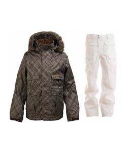 Burton Ranger Jacket Mocha Drain Jacquard w/ Burton Ronin Cargo Snowboard Pant Bright White