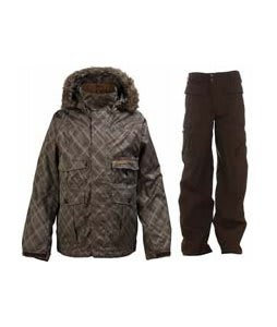 Burton Ranger Jacket Mocha Drain Jacquard w/ Burton Ronin Cargo Pants Mocha
