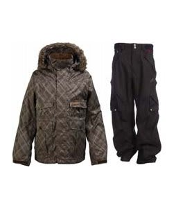 Burton Ranger Jacket Mocha Drain Jacquard w/ Foursquare Q Pants Black Hatch