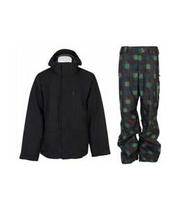 Burton Slub Jacket True Black w/ Burton Poacher Pants Mocha Native Plaid