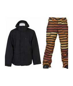 Burton Slub Jacket True Black w/ Burton Poacher Pants Hydrant Big Stripe Fade
