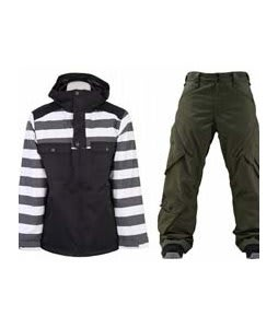 Burton Southsider Jacket Blotto Grey Jailhouse Stp Prt w/ Foursquare Q Pants Portland Pine