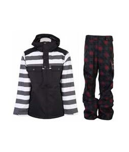 Burton Southsider Jacket Blotto Grey Jailhouse Stp Prt w/ Burton Poacher Pants True Black Native