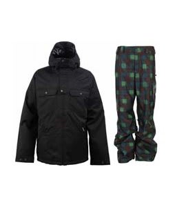 Burton Southsider Jacket True Black w/ Burton Poacher Pants Mocha Native Plaid