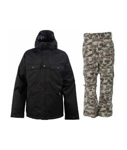 Burton Southsider Jacket True Black w/ Burton Vent Pants Shadow Camo Print