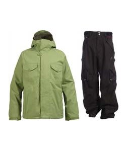 Burton System Jacket Chlorophyll w/ Foursquare Q Pants Black Hatch
