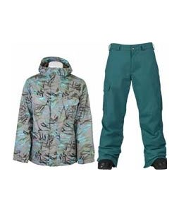 Burton Traction Jacket Gmp Haze Fruity Tiger Print w/ Burton Cargo Pants Gmp Iroquois