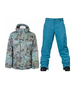 Burton Traction Jacket Gmp Haze Fruity Tiger Print w/ Burton TWC Smuggler Snowboard Pant Argon