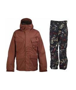 Burton Traction Jacket Ox Blood w/ Burton Vent Pants True Black Fruity Tiger Print