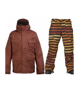 Burton Traction Jacket Ox Blood w/ Burton Poacher Pants Hydrant Big Stripe Fade
