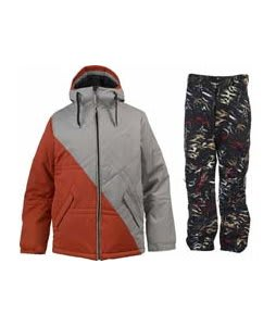 Burton TWC Pufalufagus Jacket Hydrant/Iron Grey w/ Burton Vent Pants True Black Fruity Tiger Print