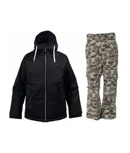 Burton TWC Puffaluffagus Jacket True Black w/ Burton Vent Pants Shadow Camo Print