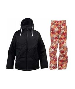 Burton TWC Puffaluffagus Jacket True Black w/ Foursquare Wong Pants Fall Leaves