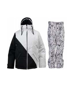 Burton TWC Puffaluffagus Jacket True Black/White w/ Burton Vent Pants Good Trip Print