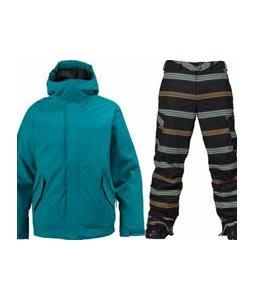 Burton TWC Such A Deal Jacket Prism w/ Burton Cargo Snowboard Pant True Black Bandwidth Stripe Print